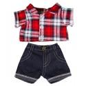 """Ensemble """"Flanelle à carreaux"""" et son jeans,  40 cm  - La tenue idéale pour les peluches personnalisées !"""