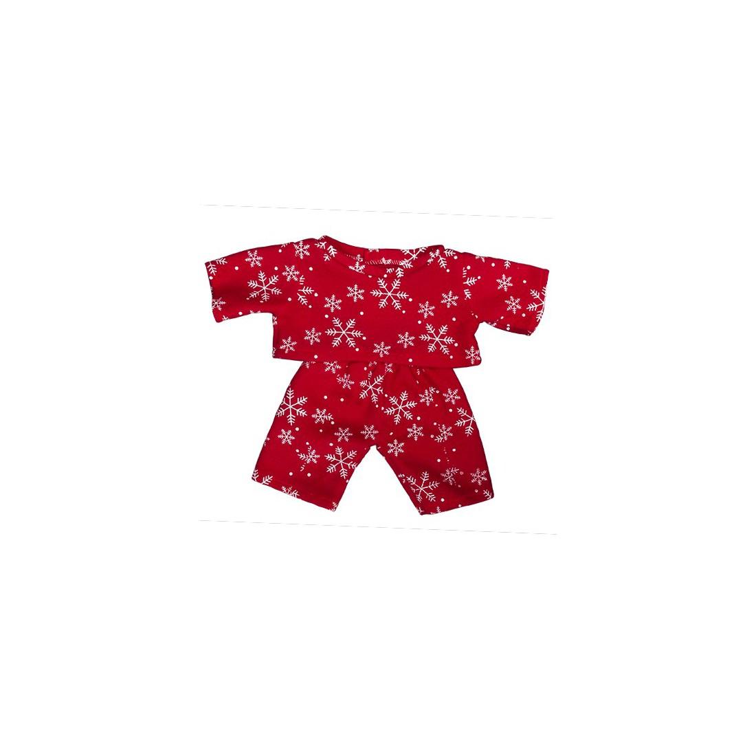 """pyjama rouge """"flocon de neige""""  - 40 cm  - La tenue idéale pour les peluches personnalisées !"""
