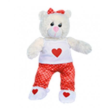 pyjama rouge satin avec cœur et chausson - 40 cm