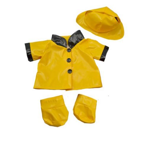 imperméable de pluie jaune avec chapeau et bottes 40 cm