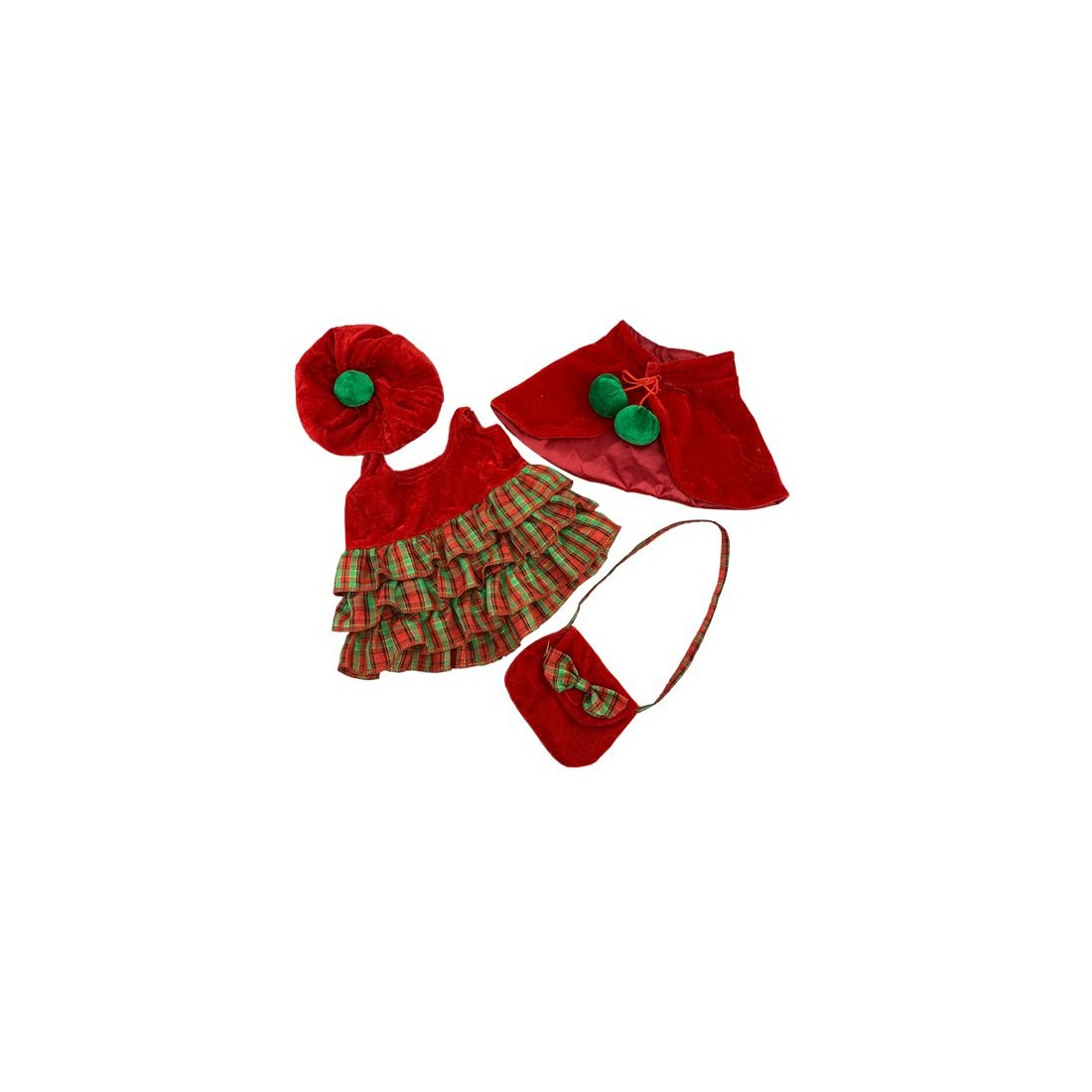 Robe de noël avec cape, béret et sac  , 40 cm