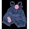 Combinaison bleu avec rose scintillante pour peluche de 40  cm