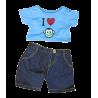 pantalon en denim et un t-shirt bleu pour peluche de 40 cm