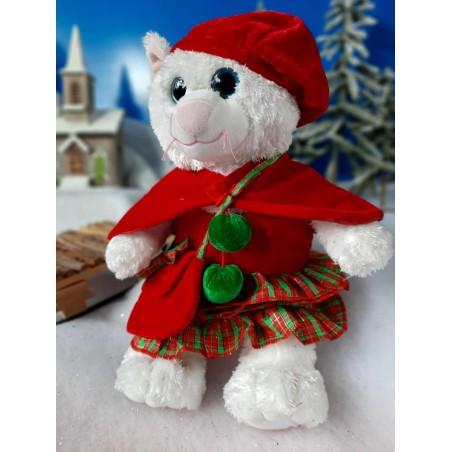 Robe de noël avec cape, béret et sac  , pour peluche ours 40 cm