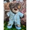 Pyjama Bleu Monkey avec Pantoufles Pour Peluche De 40 cm