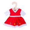 Robe Rouge avec Bordure Fleurie - Moyen 35 cm