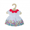 Robe Fleurie Blanche à Col Rouge - Poupon de 35 cm