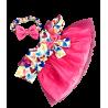 Robe coeur rose avec bandeau pour peluche de 40 cm