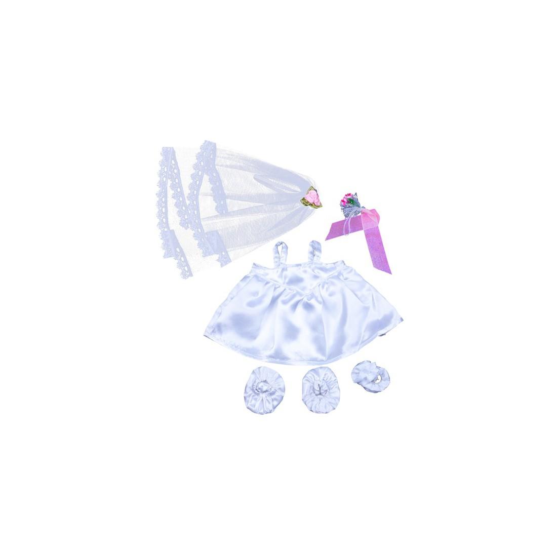 Robe de mariée avec voile & bouquet  - La tenue idéale pour les peluches personnalisées ! Transformez votre Teddy en un insépara