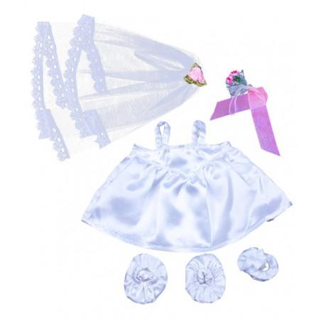 Robe de mariée avec voile & bouquet pour peluche de 40 cm