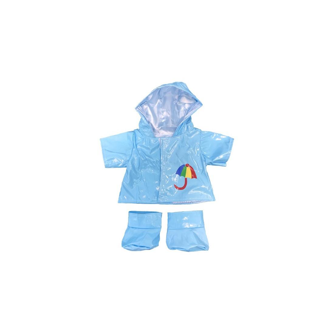 Ensemble de pluie bleu 40 cm - La tenue idéale pour les peluches personnalisées ! Transformez votre Teddy en un inséparable comp