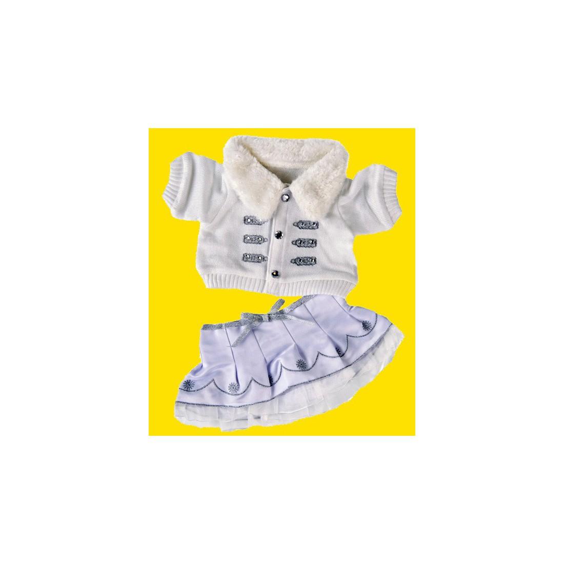 Robe d'hiver blanche  hiver 40 cm - La tenue idéale pour les peluches personnalisées ! Transformez votre Teddy en un inséparable