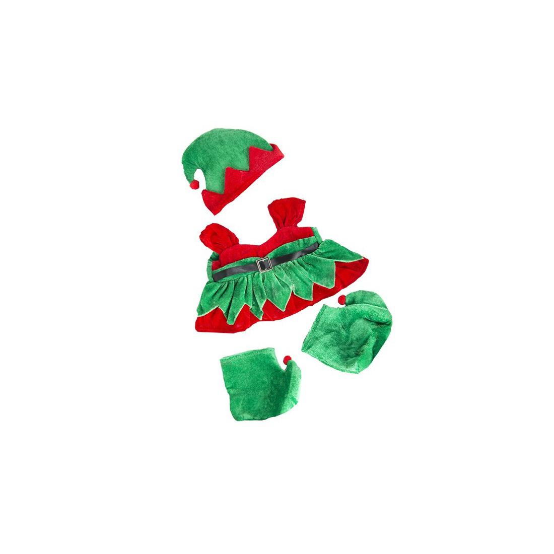 Tenue Elfe fille avec bottes et chapeau   40 cm - La tenue idéale pour les peluches personnalisées ! Transformez votre Teddy en