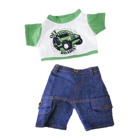 T-Shirt Off Roading et Jeans  40 cm - La tenue idéale pour les peluches personnalisées ! Transformez votre