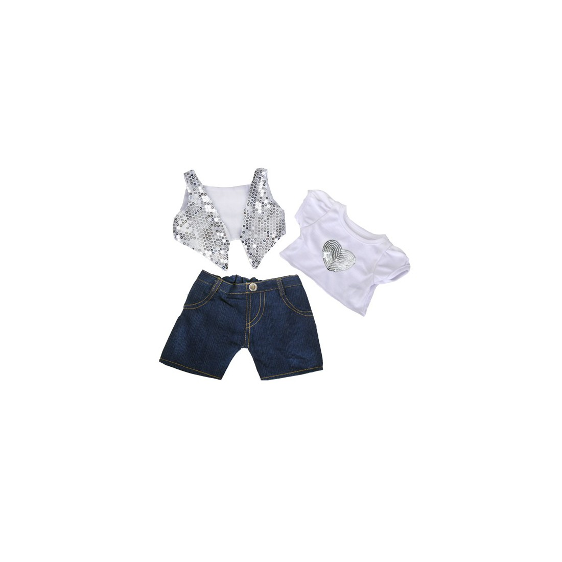 Tenue de soirée argentée  40 cm - La tenue idéale pour les peluches personnalisées ! Transformez votre