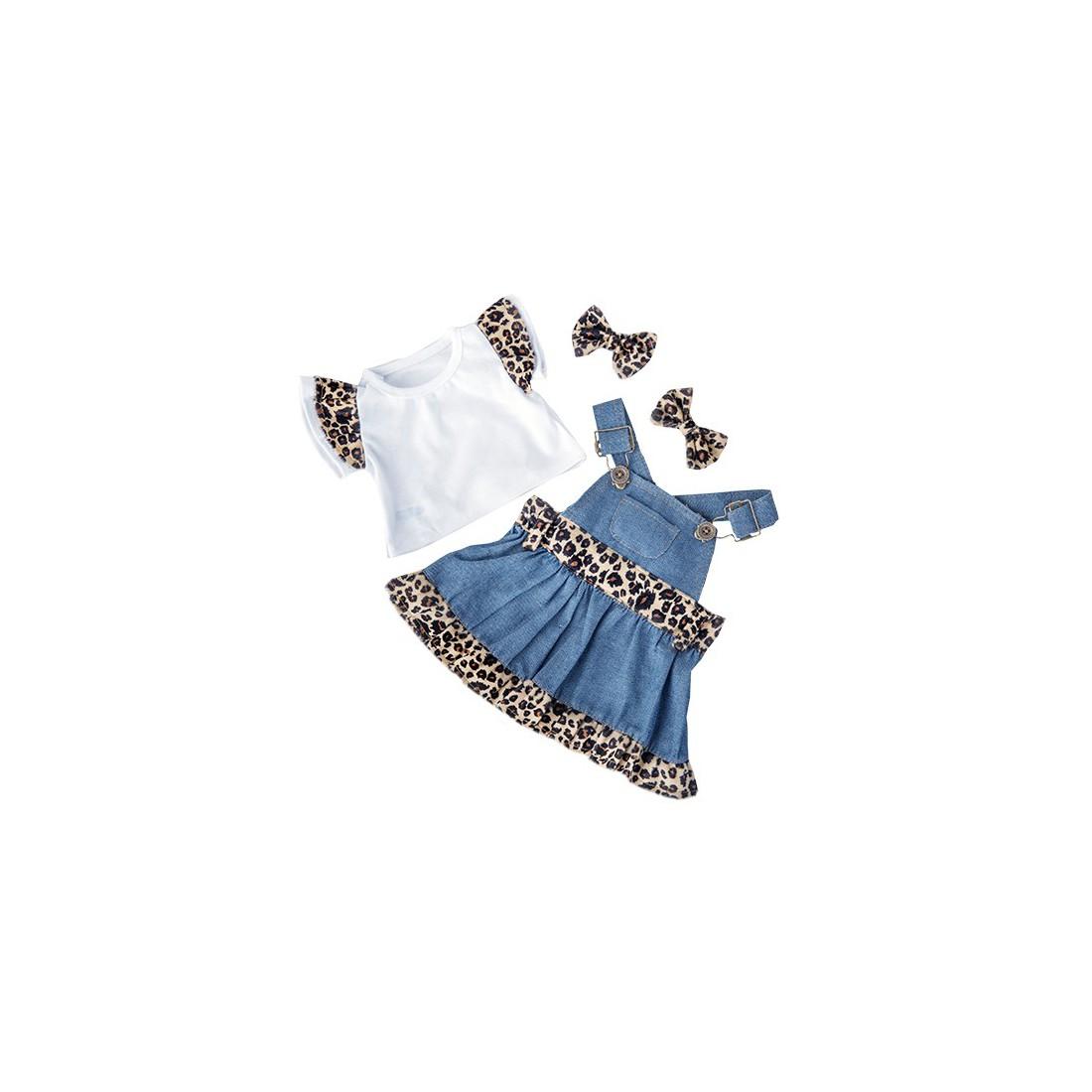 robe léopard avec t-shirt et noeud papillon 40 cm  - la tenue idéale pour les peluches personnalisées ! ,  40 cm  - La tenue idé