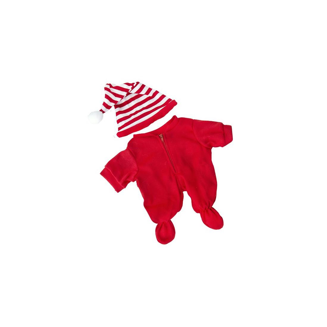 Pyjama rouge + bonnet, 40 cm  - la tenue idéale pour les peluches personnalisées ! ,  40 cm  - La tenue idé