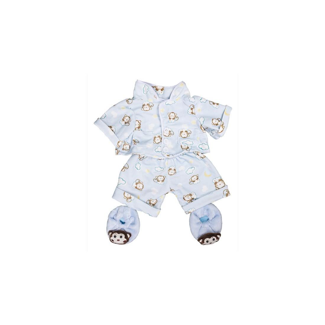 """Pyjama Bleu """"Monkey"""" avec pantoufles  - la tenue idéale pour les peluches personnalisées ! ,  40 cm  - La tenue idé"""