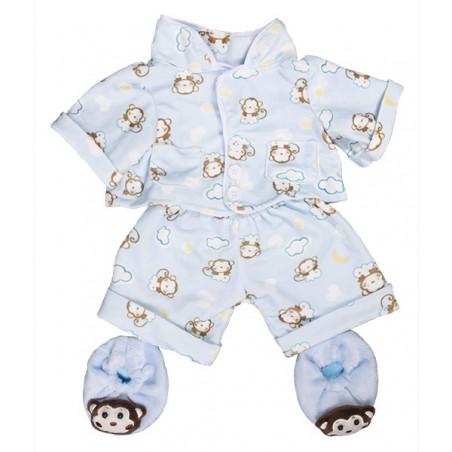 """Pyjama Bleu """"Monkey"""" avec pantoufles"""