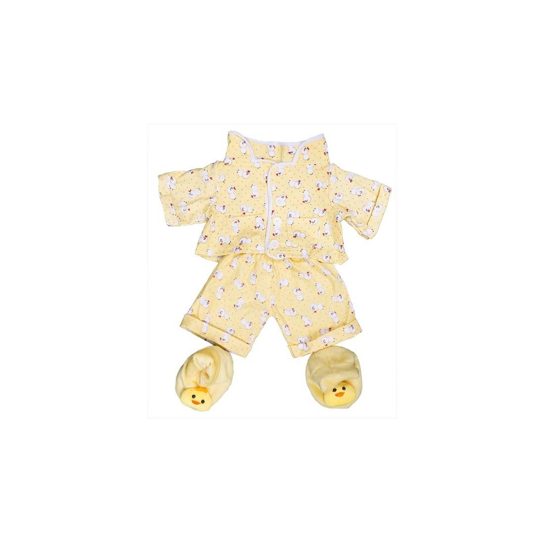 """Pyjama jaune """"poussin"""" et pantoufles  - la tenue idéale pour les peluches personnalisées ! ,  40 cm  - La tenue idé"""