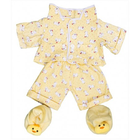 """Pyjama jaune """"poussin"""" et pantoufles"""