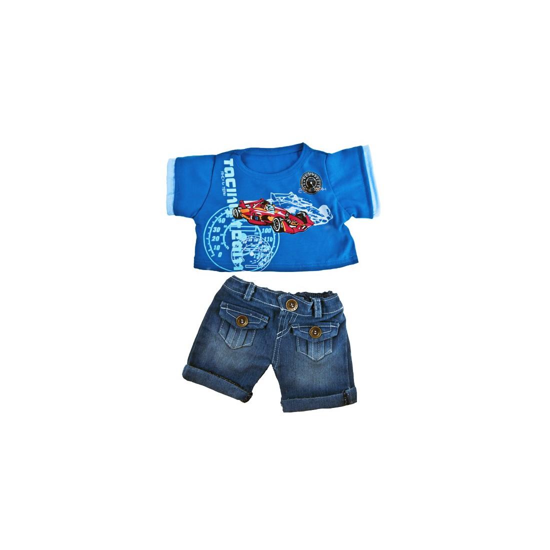 Jeans & T-Shirt Voiture  40 cm - La tenue idéale pour les peluches personnalisées ! Transformez votre