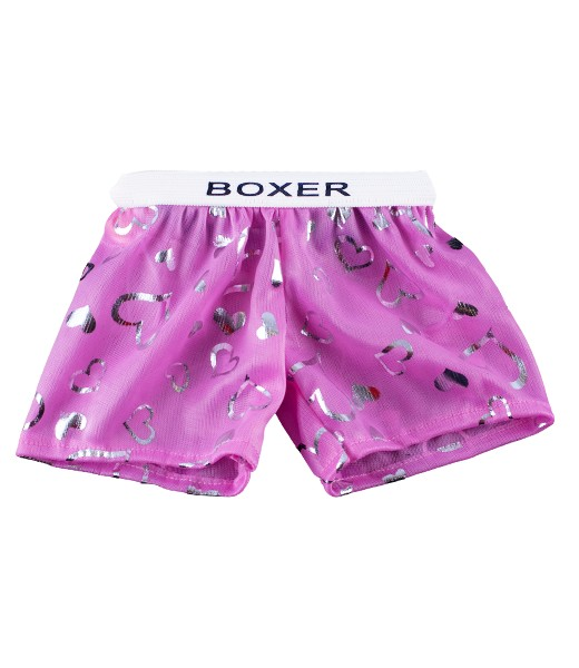 Boxer satin coeur rose